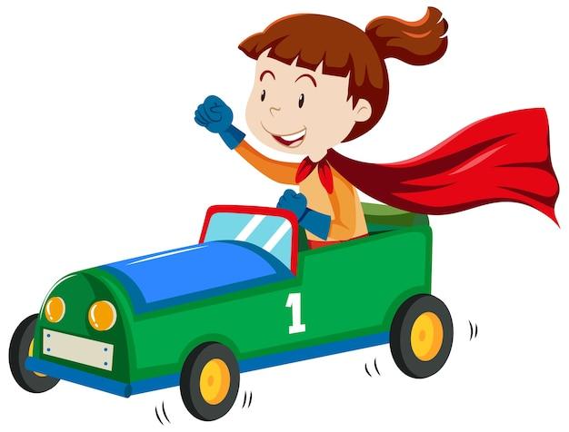 Dziewczyna bawi się stylem cartoon zabawka samochód na białym tle