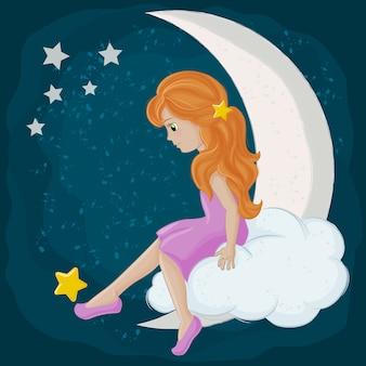 Dziewczyna bawi sie z gwiazdą