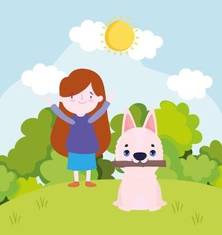 Dziewczyna bawi się z psem