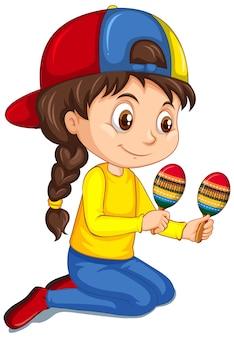 Dziewczyna bawić się marakasy na odosobnionym