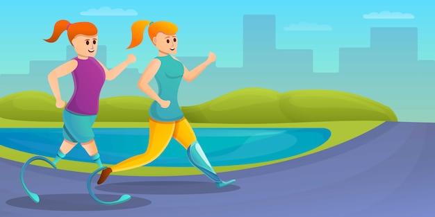 Dziewczyna biega sztucznego kończyna pojęcia sztandar, kreskówka styl