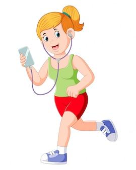Dziewczyna biegacz działa i słuchania muzyki słuchawki