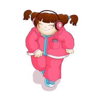 Dziewczyna biegnie i słucha muzyki w odtwarzaczu przez słuchawki.