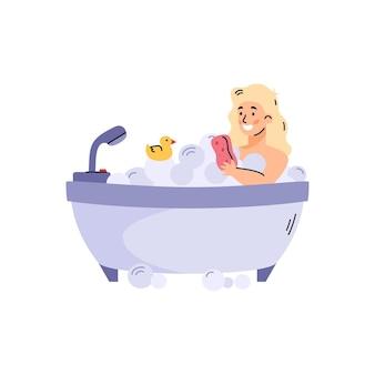 Dziewczyna biorąca kąpiel w wannie pełnej pianki kreskówka na białym tle