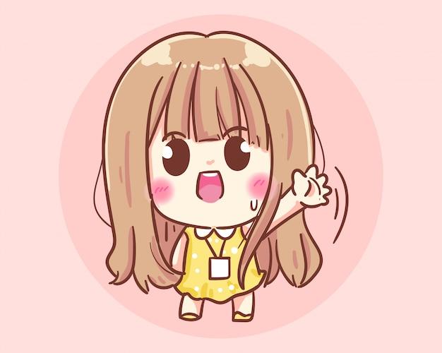 Dziewczyna biurowa macha ręką, powitanie i pozdrawiam cię ilustracja kreskówka premium wektorów