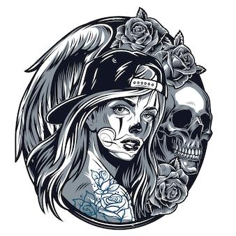 Dziewczyna chicano w czapka z daszkiem okrągły koncepcja