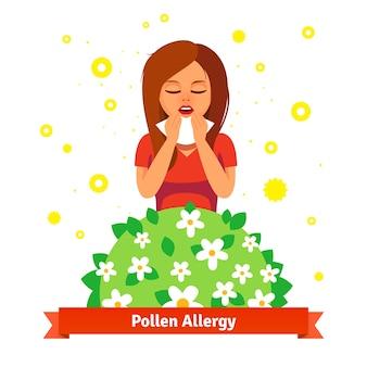 Dziewczyna cierpi na alergie pyłków wiosennych