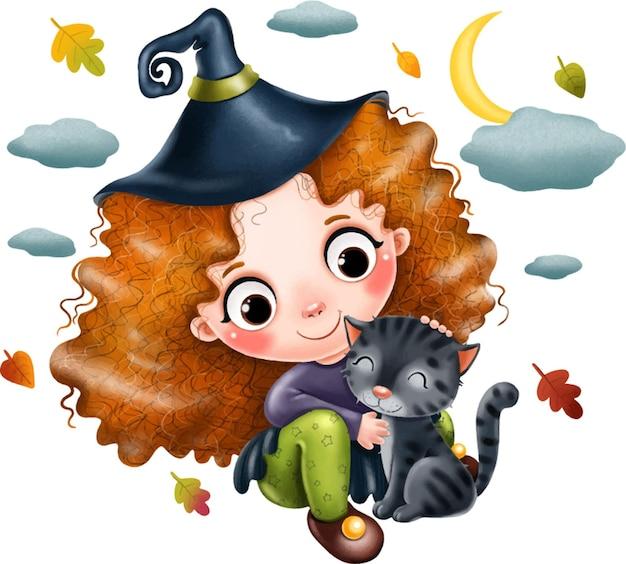 Dziewczyna czarownica z kapeluszem i czarnym kotem na halloween plakat