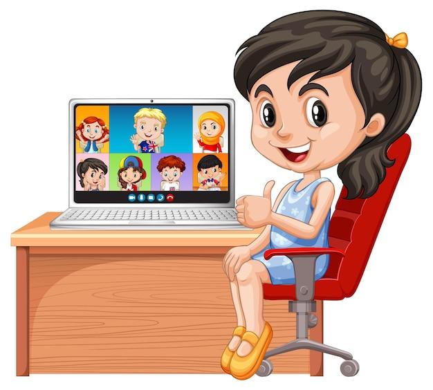 Dziewczyna czat wideo z przyjaciółmi na białym tle