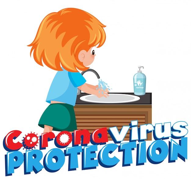 Dziewczyna czyszczenia dłoni, aby zapobiec wirusowi corona