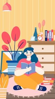 Dziewczyna czyta siedząc na ilustracji podłogi