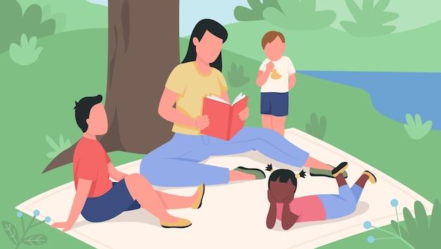 Dziewczyna czytająca książkę dla dzieci w parku płaski kolor. rozrywki w przedszkolu. nauczyciel z dziećmi odpoczywa. klasa przedszkolna na zewnątrz postaci z kreskówek 2d z naturą