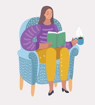 Dziewczyna czytająca książkę na fotelu