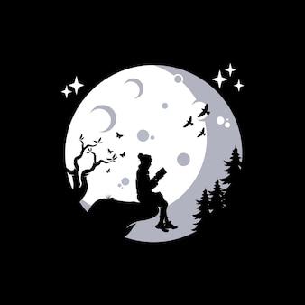 Dziewczyna czytająca książkę na ilustracji księżyca