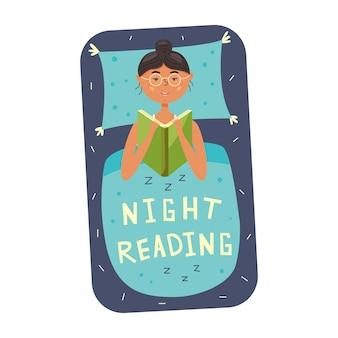 Dziewczyna czytająca książkę przed snem. kobieta leży w łóżku na poduszce przykrytej kocem. ilustracja wektorowa