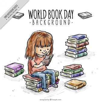 Dziewczyna czytania ciekawą książkę tło