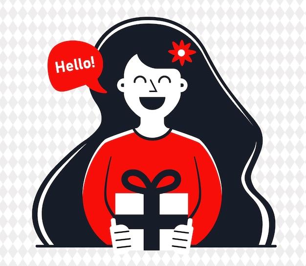 Dziewczyna daje prezent na rocznicę związku. ilustracja wektorowa płaski kontrastujący charakter.