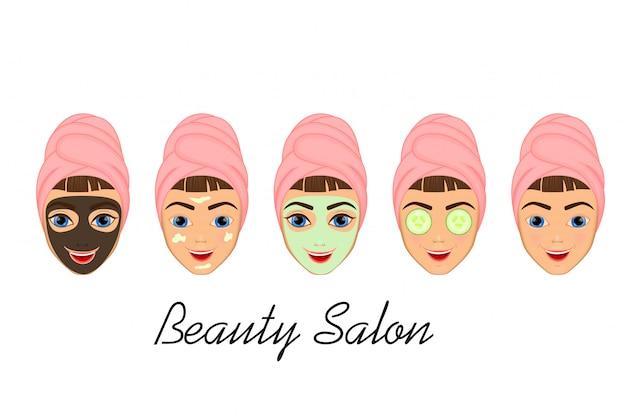 Dziewczyna dba i chroni twarz za pomocą różnych działań, twarzy, zabiegów, urody, zdrowego,
