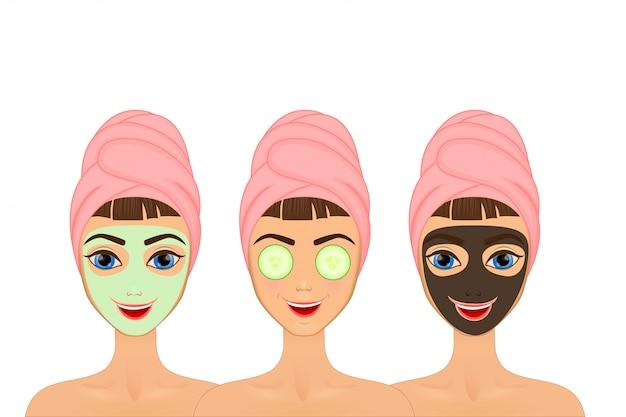 Dziewczyna dba i chroni twarz za pomocą różnych działań, twarzy