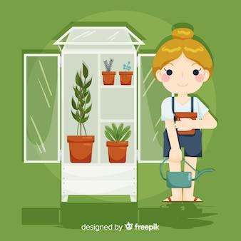 Dziewczyna dbająca o rośliny