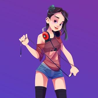Dziewczyna dj grająca muzykę na imprezie, dyskotece lub klubie nocnym. młoda azjatykcia kobieta w krótkich spodenkach z kolczykiem na twarzy.