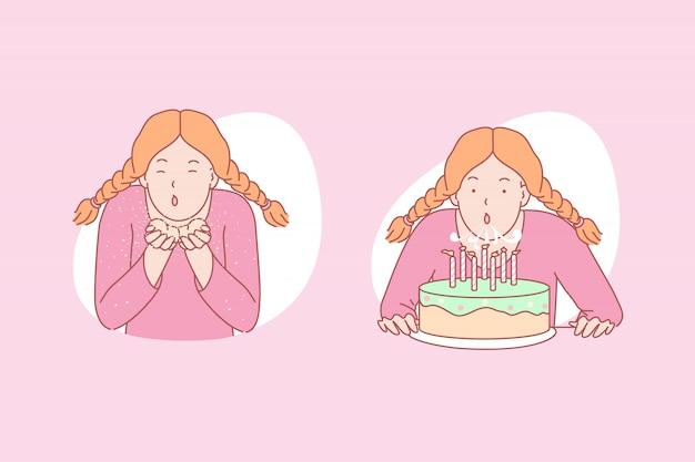 Dziewczyna dmuchanie ilustracja tort urodzinowy