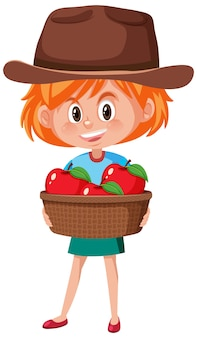 Dziewczyna dzieci z owocami lub warzywami na białym tle