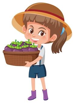 Dziewczyna dzieci z owocami na białym tle