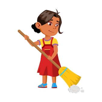 Dziewczyna dziecko zamiatanie podłogi domu z wektor miotła. uśmiechający się indian pani kid zamiatanie i czystość domu z miotłą. charakter niemowlę rutynowe sprzątanie i czyszczenie płaskie ilustracja kreskówka