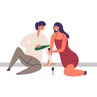 Dziewczyna facet spędza razem czas piknikowy szampan