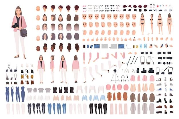 Dziewczyna fotograf lub fotodziennikarz zestaw diy lub zestaw konstruktora. kolekcja części ciała, ubrań, akcesoriów. ładny postać z kreskówki kobiet. widoki z przodu, z boku, z tyłu. ilustracja wektorowa płaski.