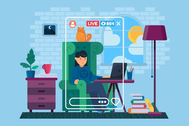 Dziewczyna freelancer w domu ilustracja koncepcja postaci