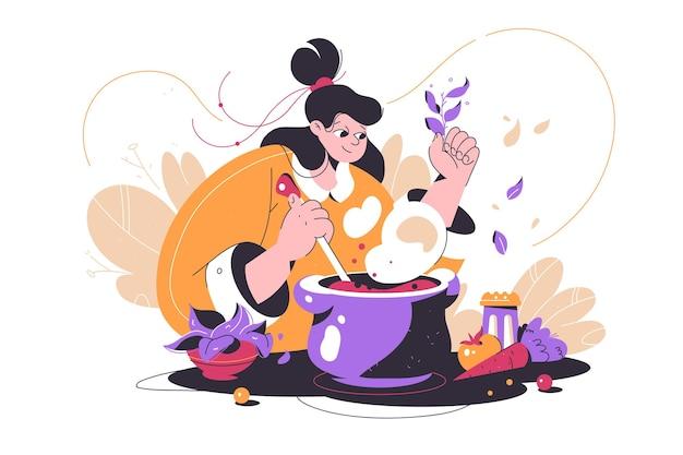 Dziewczyna gotuje dodawanie składników do ilustracji wektorowych garnka świeże warzywa na stole w stylu płaski