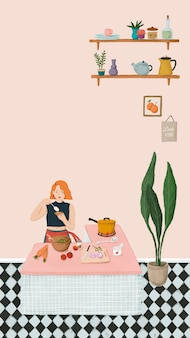 Dziewczyna gotuje w stylu szkicu kuchni telefon komórkowy tapeta wektor