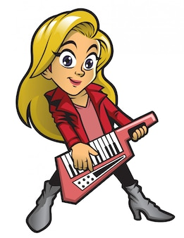 Dziewczyna gra keytar