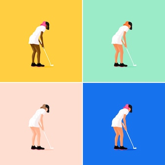 Dziewczyna gra w golfa