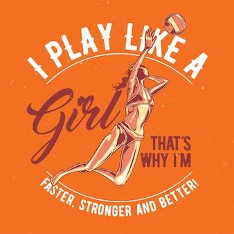Dziewczyna gra w plakat ilustracji koszykówki plażowej