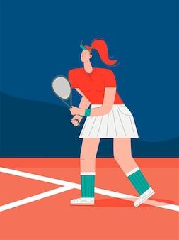 Dziewczyna gra w tenisa. sportowiec ćwiczenia ilustracja koncepcja. trening, gra w tenisa, tenisista trzymający rakietę. wektor w stylu płaski.
