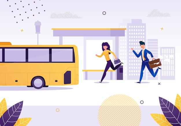 Dziewczyna i biznesmen biegnące do autobusu w pobliżu przystanek ilustracja kreskówka płaski. kobieta i mężczyzna śpieszą do pojazdu