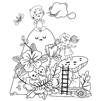Dziewczyna i chłopak biorą głęboki oddech na łonie natury. czarno-białe