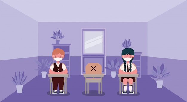 Dziewczyna i chłopak dzieci na biurkach z maskami medycznych w klasie