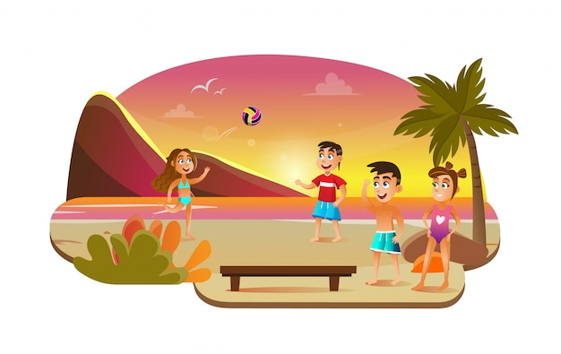 Dziewczyna i chłopak gra w siatkówkę plażową w pobliżu morza