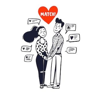 Dziewczyna i chłopak trzymając się za ręce otoczony wiadomościami czatu