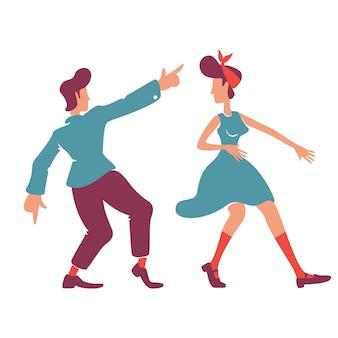 Dziewczyna i chłopak w stylu retro bez twarzy. para tańczy boogie woogie, rock n roll. staromodna romantyczna randka na disco party na białym tle ilustracja kreskówka