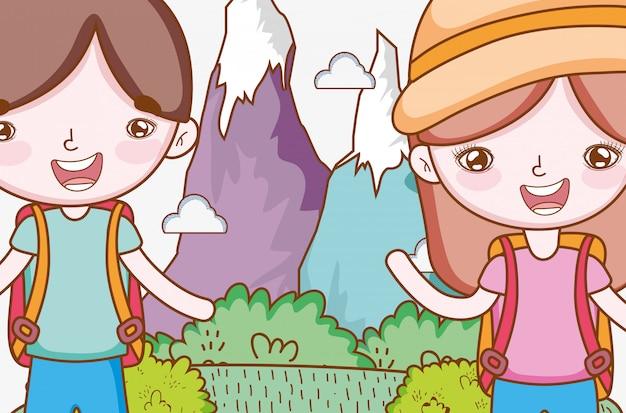 Dziewczyna i chłopiec w lodowych górach z drzewami