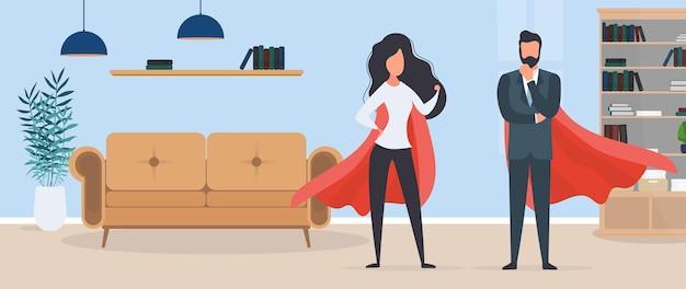 Dziewczyna i facet z czerwonym płaszczem przeciwdeszczowym. kobieta i mężczyzna superbohater. pojęcie odnoszącej sukcesy osoby, firmy lub rodziny. wektor.