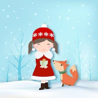 Dziewczyna i lis z śnieżną ilustracją
