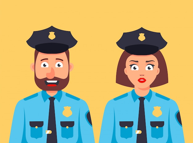 Dziewczyna i mężczyzna policjant stoją razem. miły ochroniarz. płaski charakter
