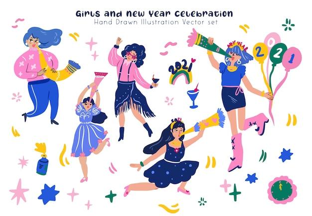 Dziewczyna i nowy rok celebration party ręcznie rysowane zestaw ilustracji cyfrowych