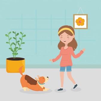 Dziewczyna i pies bawiące się w domu opieki nad zwierzętami